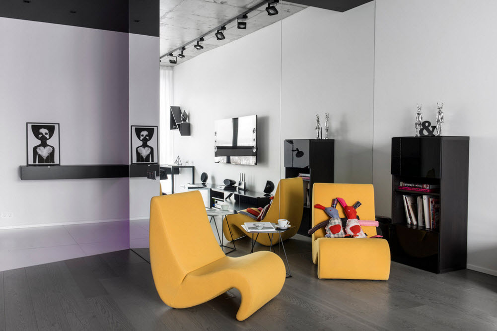Daring Black and White Home Design Project with Neon Lighting. Yellow chairs stating the lounge zone in the interior