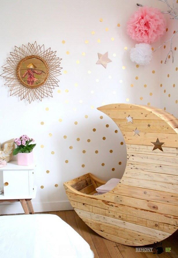 Red dotted walls for the baby's room