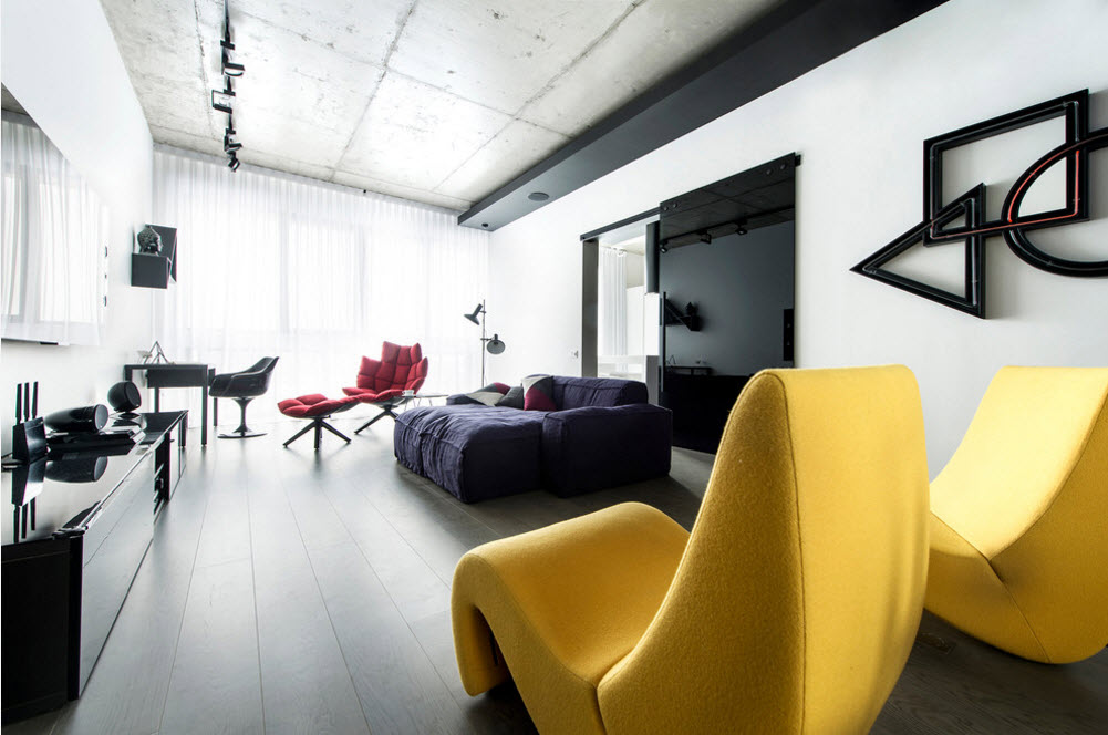 Daring Black and White Home Design Project with Neon Lighting. Stunning yellow wavy chair in the resting zone
