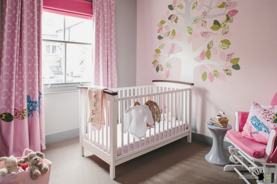 Nursery Interior Design Ideas with Photos and Practical Advice. Pinkish decoration in the Classic and minimalistic atmosphere