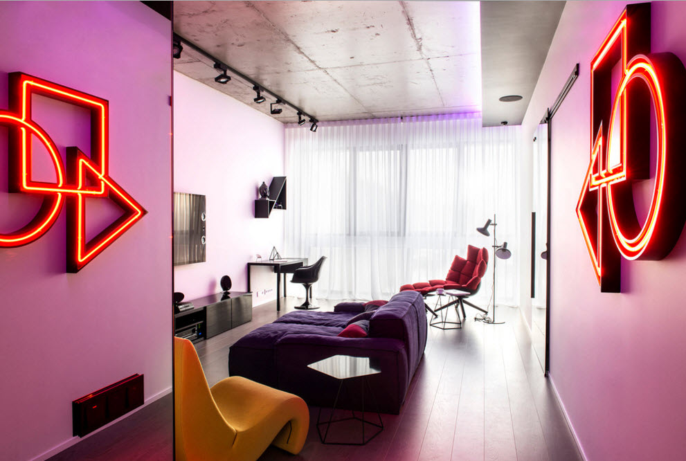 Neon backlight for the Industrial styled living room with large purple sofa in the center