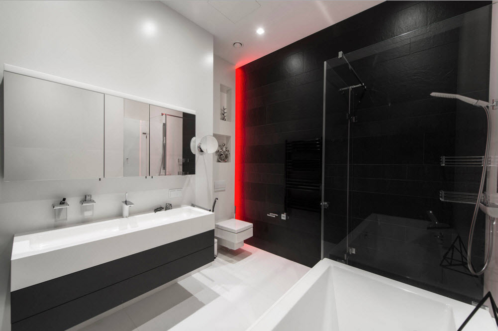 Gorgeous modern bathroom with striking black partition of the shower zone