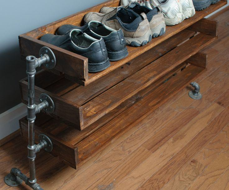 Custom Shoe Rack DIY Construction at Home. Wooden rack with metal base