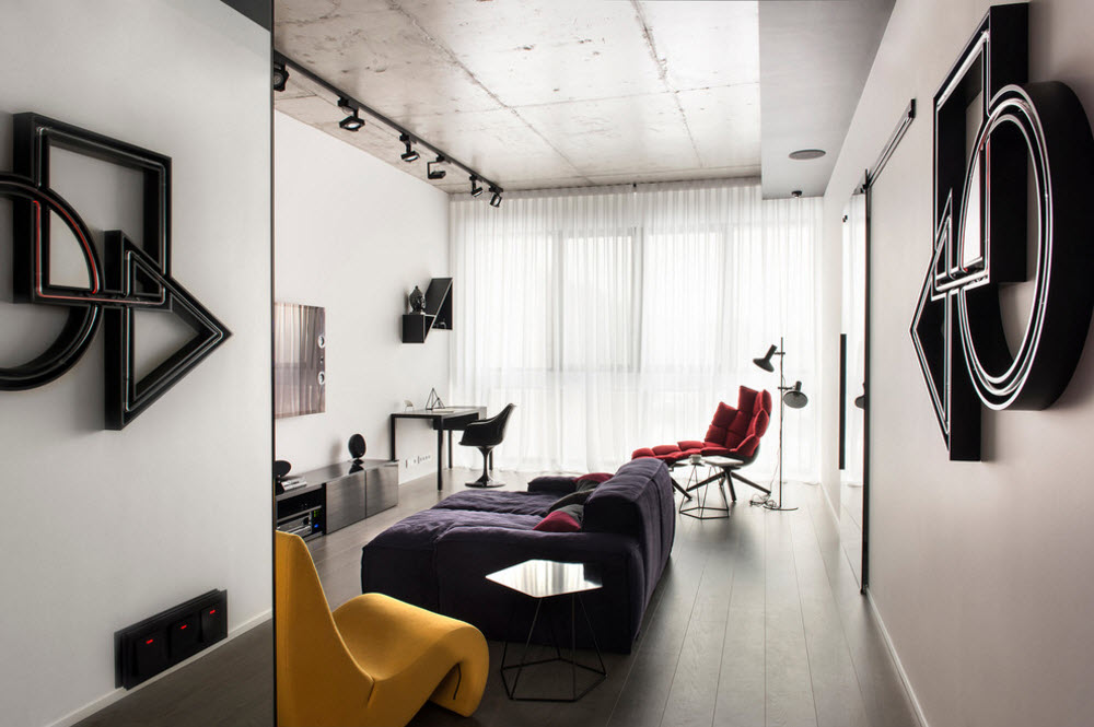 The same minimalistic modern interior with adaptive ligth and upholstered furniture with neon backlight off