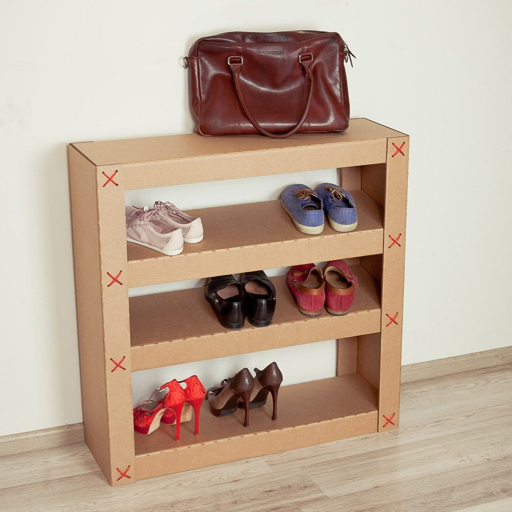 Custom Shoe Rack DIY Construction at Home. Simple shelf of cardboard