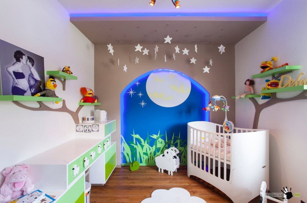 Nursery Interior Design Ideas with Photos and Practical Advice. Additional ruches in form of stars for the room with blue backlight