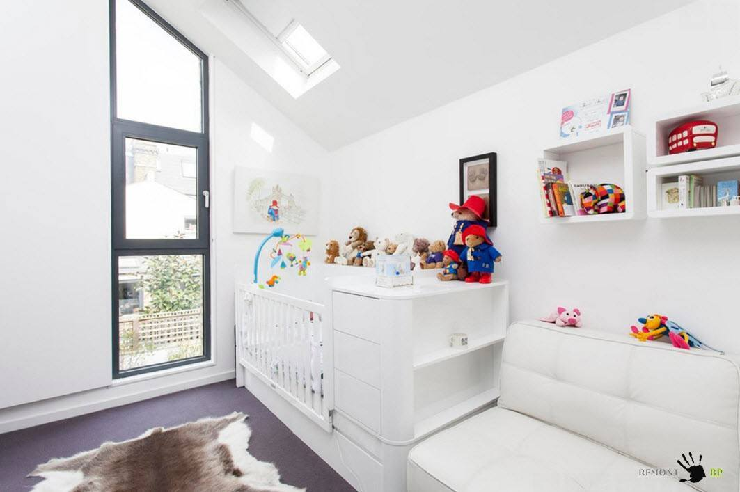 Nursery Interior Design Ideas with Photos and Practical Advice. Fully white modern space with unusual form of window