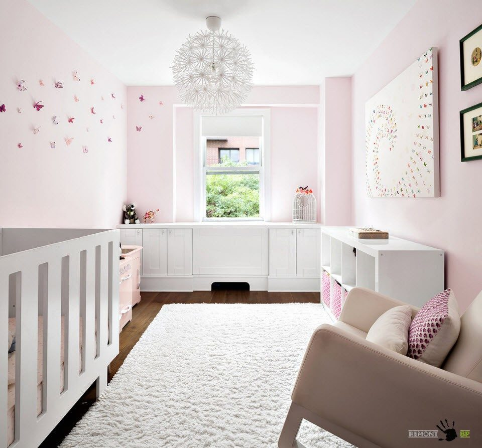 Nursery Interior Design Ideas with Photos and Practical Advice. Neat pink walls