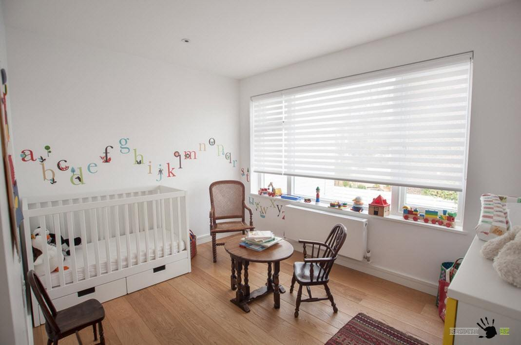 Nursery Interior Design Ideas with Photos and Practical Advice. Minimalsitic setting of the modern space with laminate