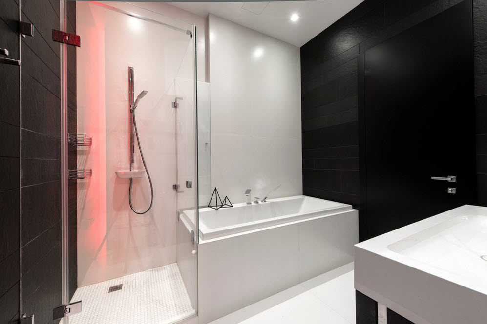 Glass, plastic and tile for the modern styled bathroom with all the functional blocks