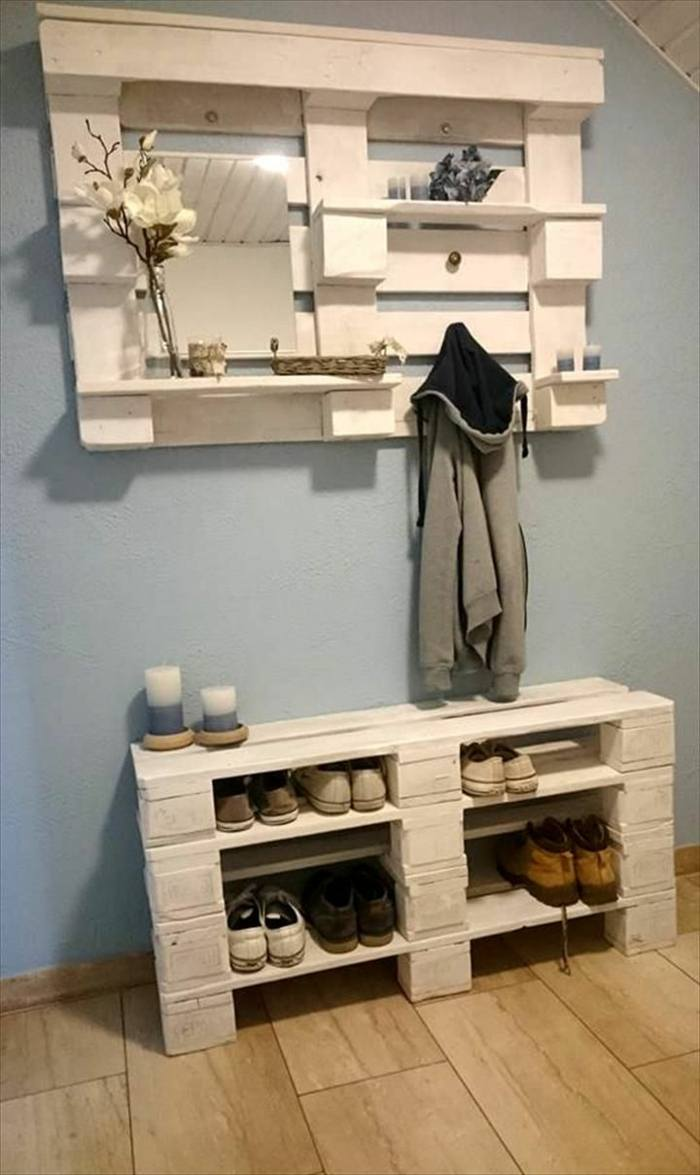 Custom Shoe Rack DIY Construction at Home. Pallet made furniture for hallway