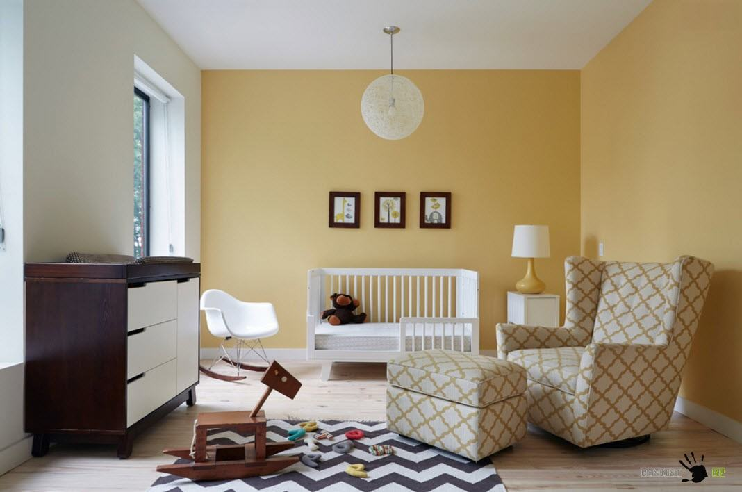 Nursery Interior Design Ideas with Photos and Practical Advice. Yellow wall paint for contemporary styled space