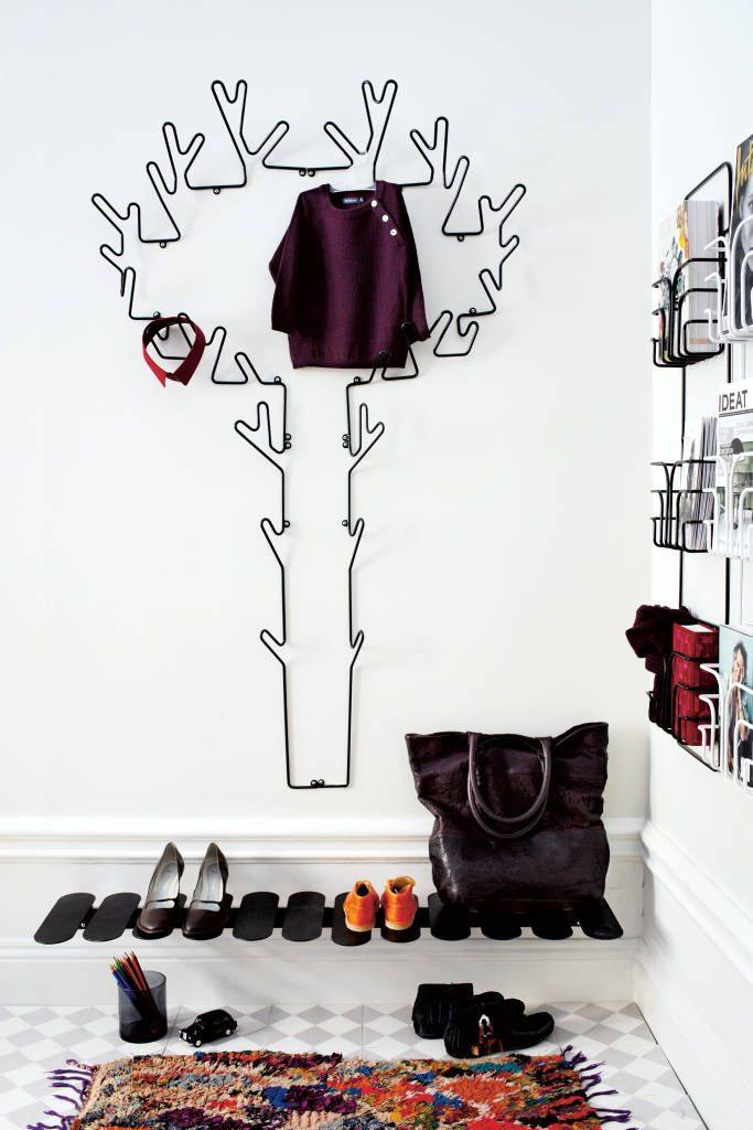Custom Shoe Rack DIY Construction at Home. Contrasting installation for hallway
