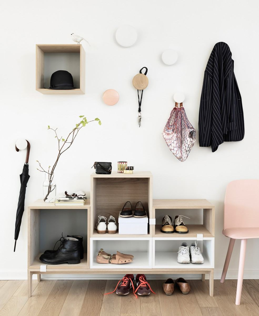 White colored hallway with open shoe rack