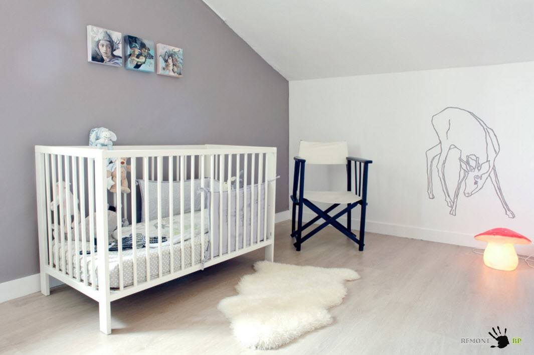 Nursery Interior Design Ideas with Photos and Practical Advice. White ceiling and gray accent wallfor casual styled room