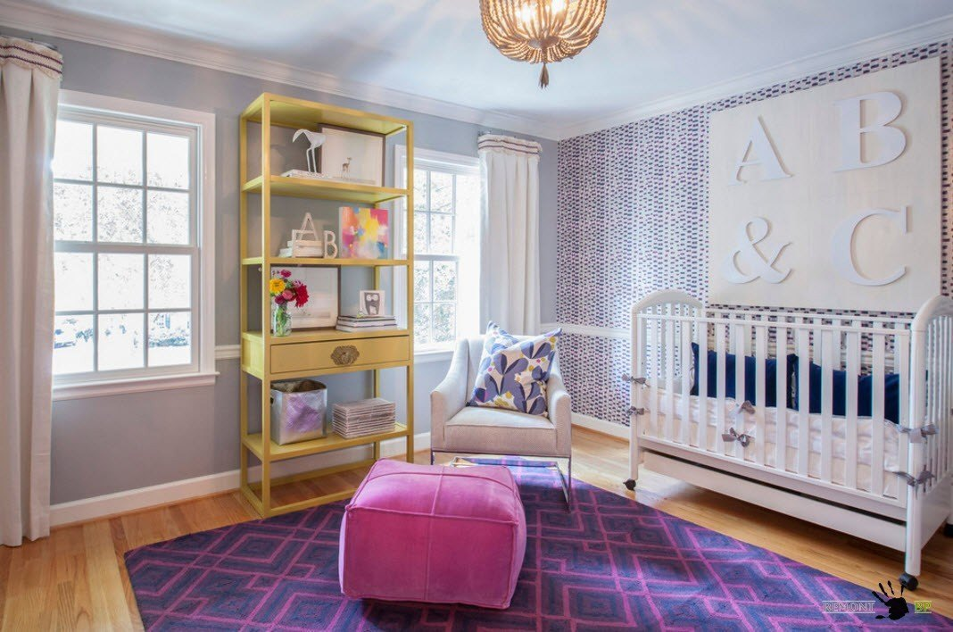 Purple rug and pibk ottoman for Classic styled room with yellow rack
