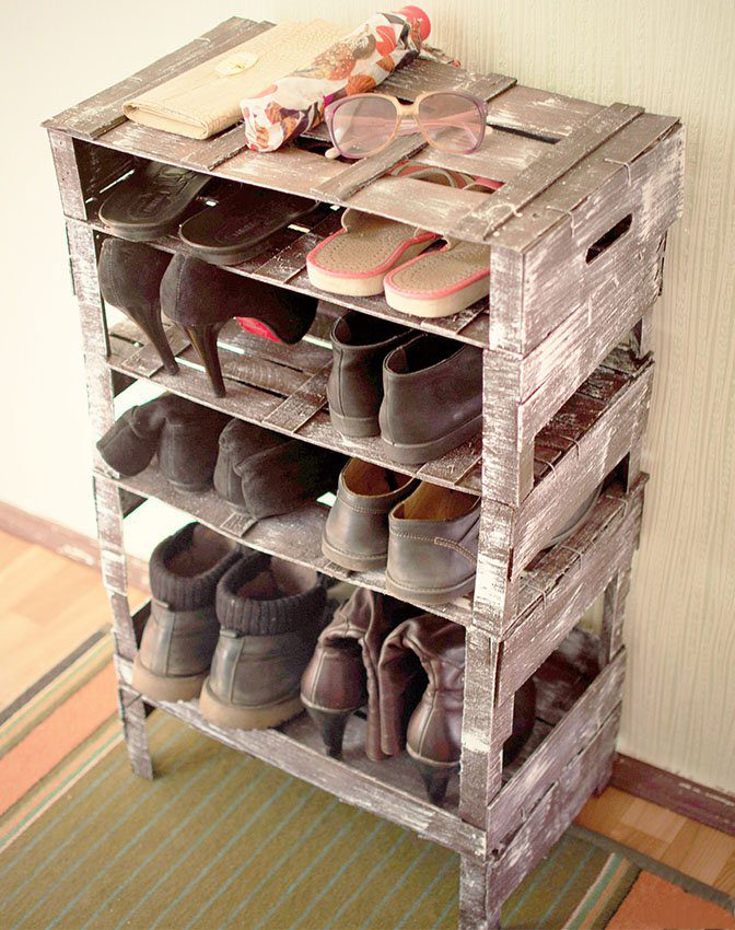 Custom Shoe Rack DIY Construction at Home. Storage box redone for storage