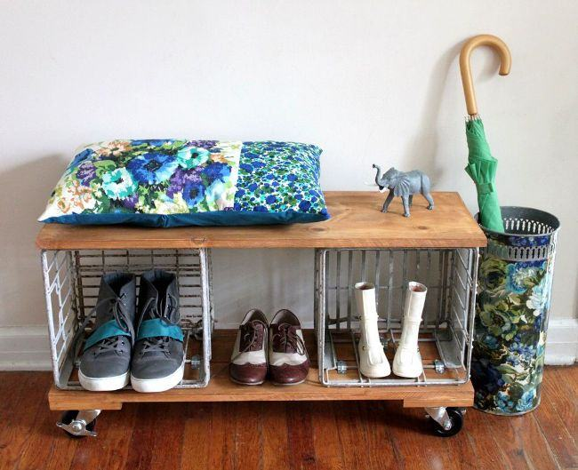 Custom Shoe Rack DIY Construction at Home. Simple design on castors