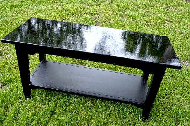 Black wooden table for the diy shoe rack