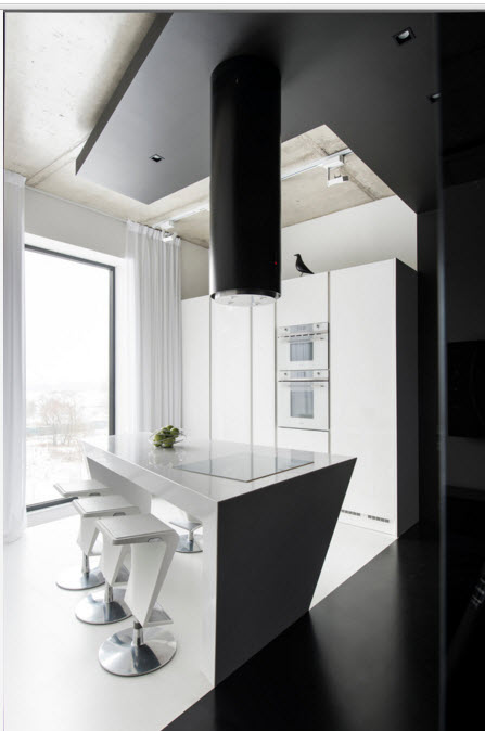 Daring Black and White Home Design Project with Neon Lighting. Panoramic window and plenty of natural light for the kitchen