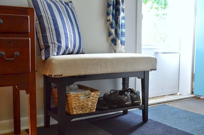 Black wooden table for the diy shoe rack: in the interior