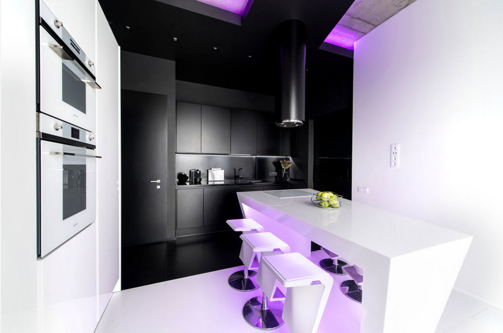 Daring Black and White Home Design Project with Neon Lighting. Smooth hi-tech facades without handles