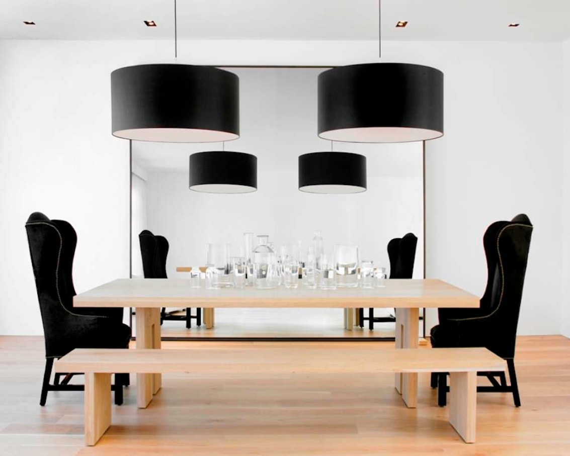 Black Dining Room Set for Different Interior Styles. Metal frame for the lamps