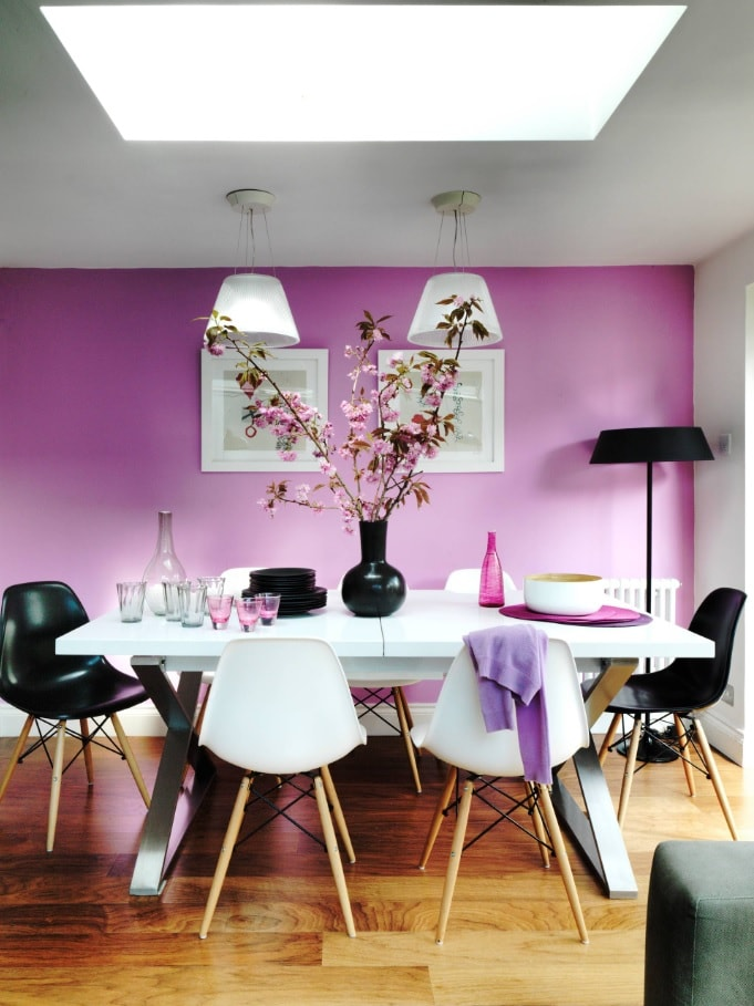 Black Dining Room Set for Different Interior Styles. Pink accent wall and monochromatic front of the Classic dining room