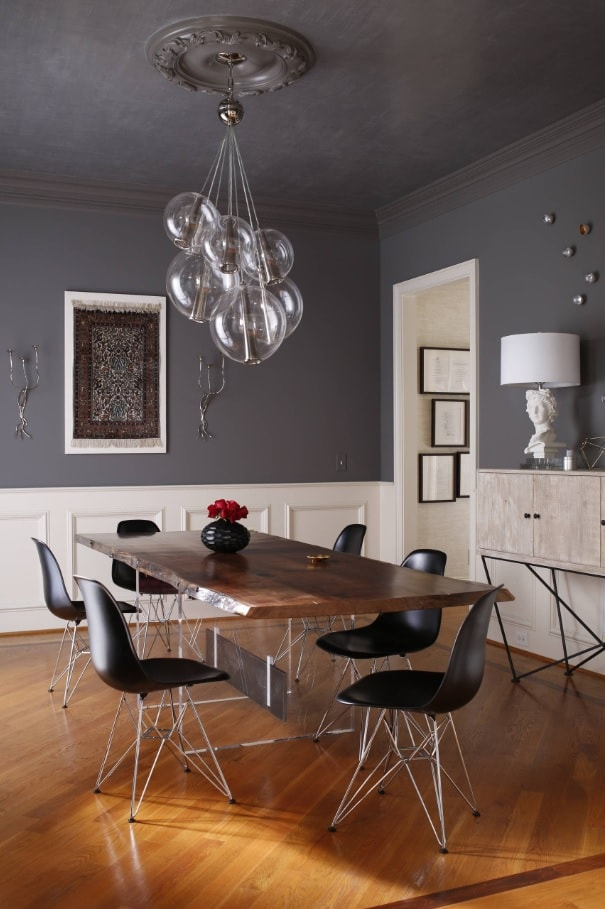 Black Dining Room Set for Different Interior Styles. Gray and white color design of the room with bunch of bubble looking bulbs