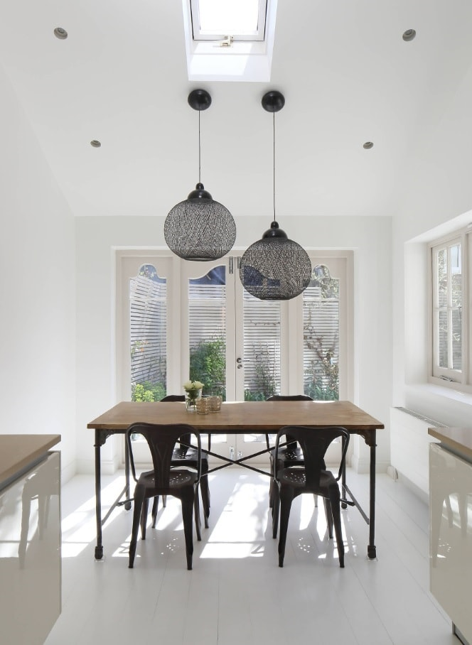 Black Dining Room Set for Different Interior Styles. Unusual gray lampshades for totally white room with wooden table
