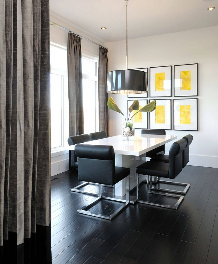 Modern designed room with black chairs on metal frames