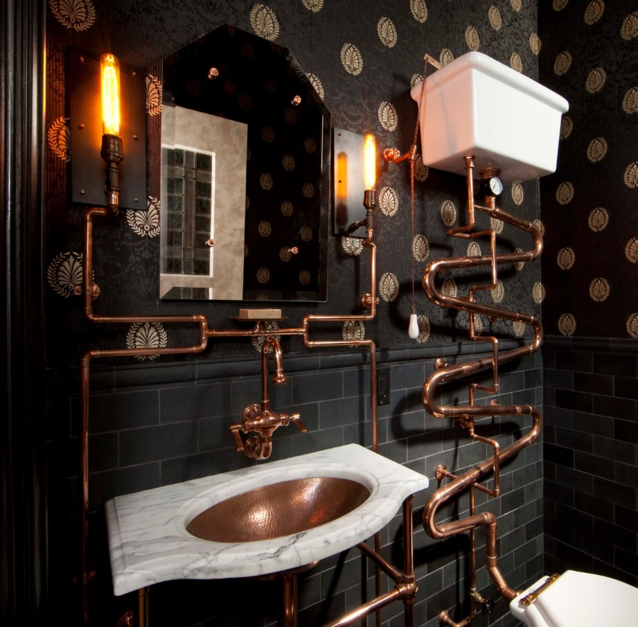 Copper Decoration Elements as Fashionable Interior Design Trend. Dark Steampunk styled interior with exposed plumbing and unusual pattern on walls