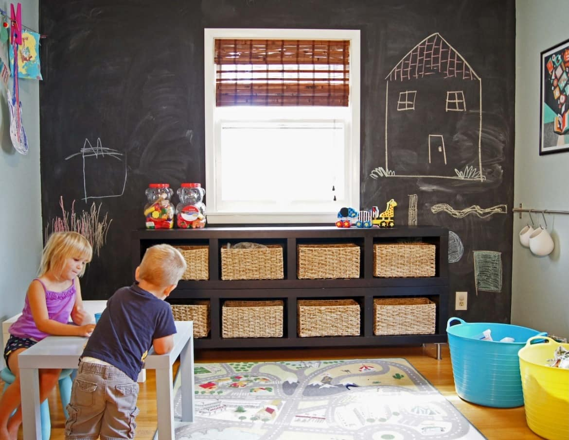 Kids Room Paint Creative Design Ideas. Black wall for painting