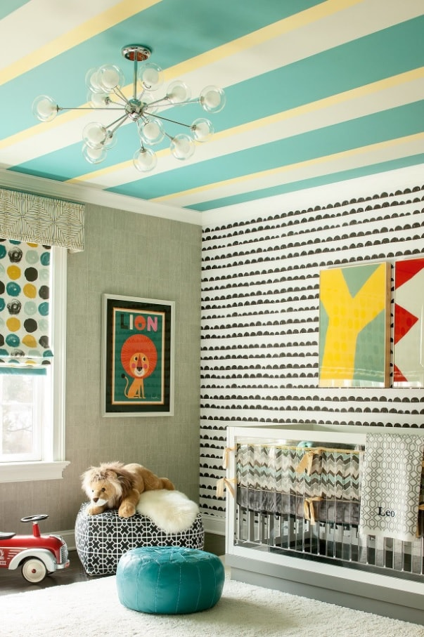 Kids Room Paint Creative Design Ideas. Striped turquoise and white ceiling and dotted walls