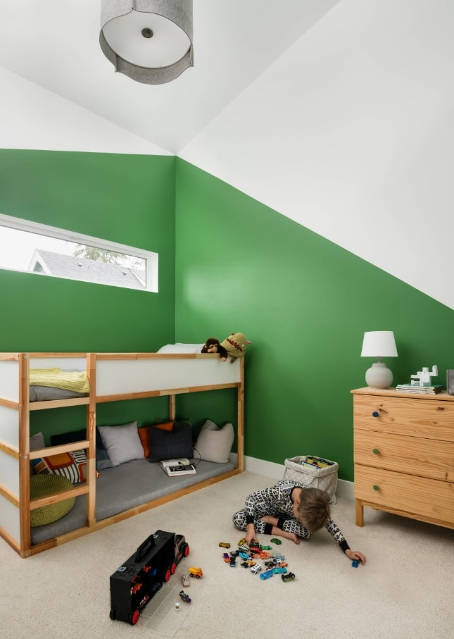 Kids Room Paint Creative Design Ideas. Green and white painted walls for minimalistic space