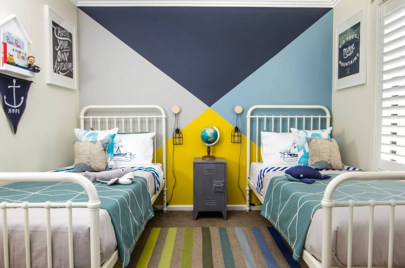 Kids Room Paint Creative Design Ideas. The room for two kids with colorful walls in complex theme