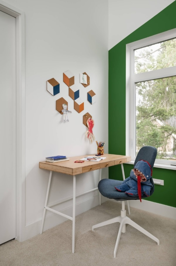 Kids Room Paint Creative Design Ideas. Green window wall and white others for small space