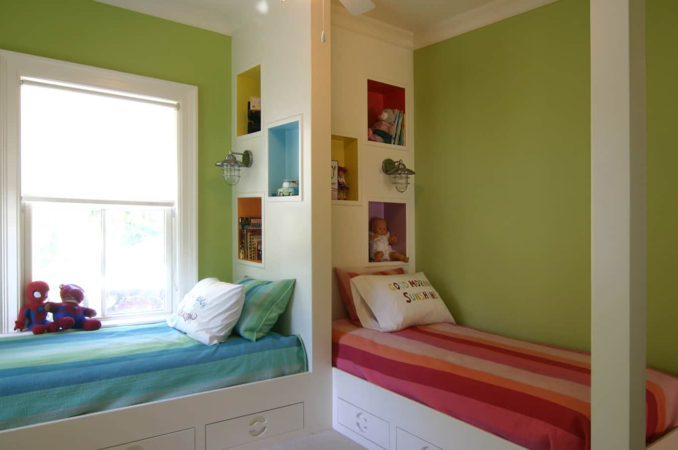 Kids room for two with saturated green walls