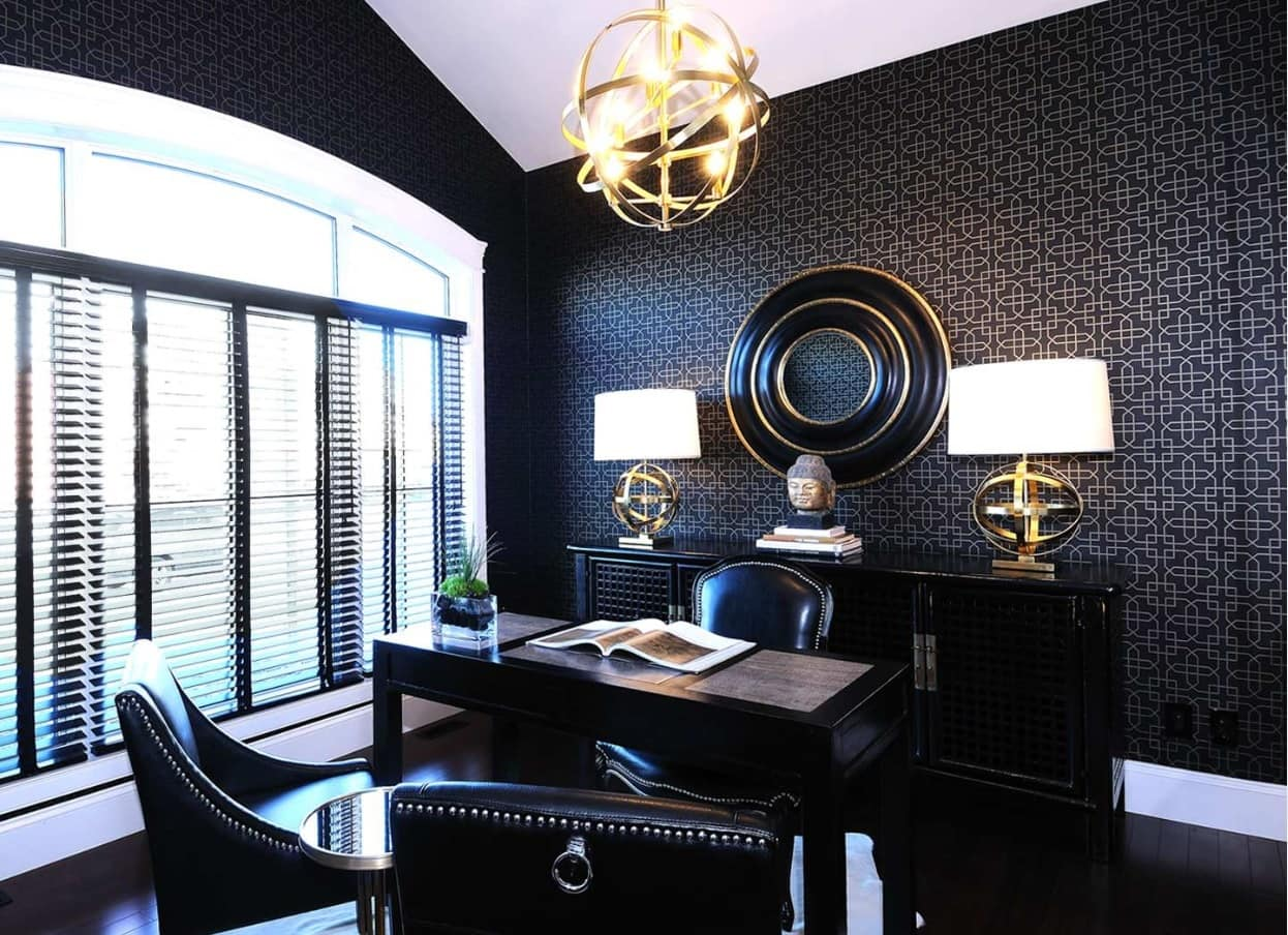7 Home Collections by Luxury Fashion Brands. Chic black colored home office with Oriental decoration touch