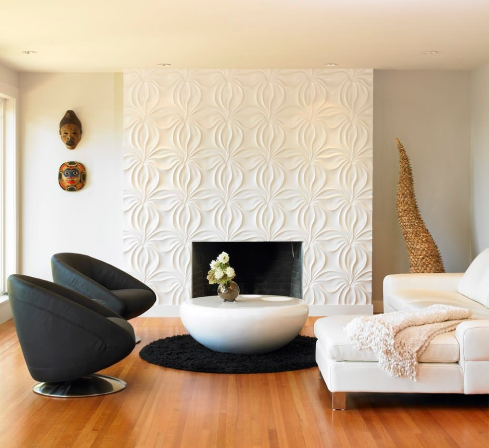 Texture in Interior Design: Add Volume to Your Home. Modern styled living room with the fireplace and tiled accent wall
