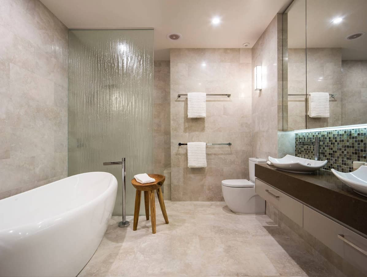 Texture in Interior Design: Add Volume to Your Home. Hi-tech minimalism in large bathroom with glass shower cabin
