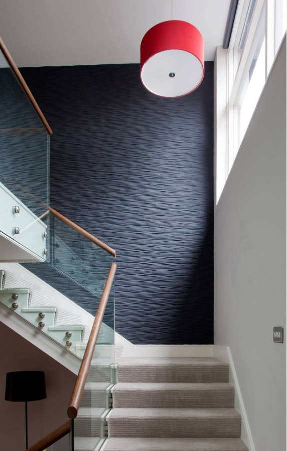 Texture in Interior Design: Add Volume to Your Home. Wow-effect producing wall covering at stairs