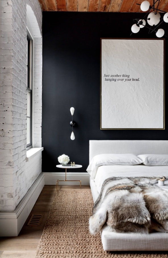 Texture in Interior Design: Add Volume to Your Home. Dark blue accent wall for large bedroom in mix of styles