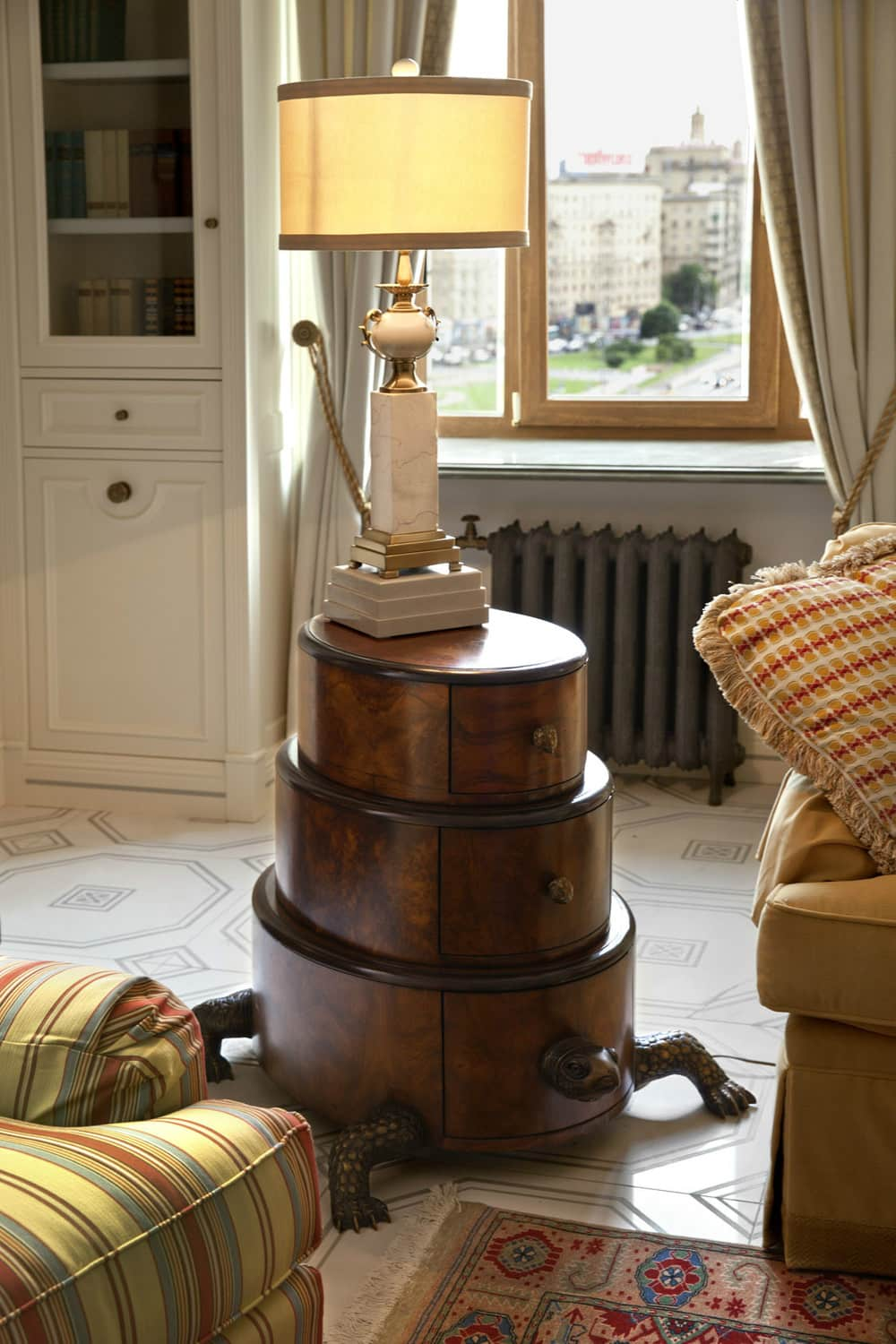 1920s Interior Design in Action: Real Apartment in Deep Retro. Unusual three-tier storage box in the form of tortoise