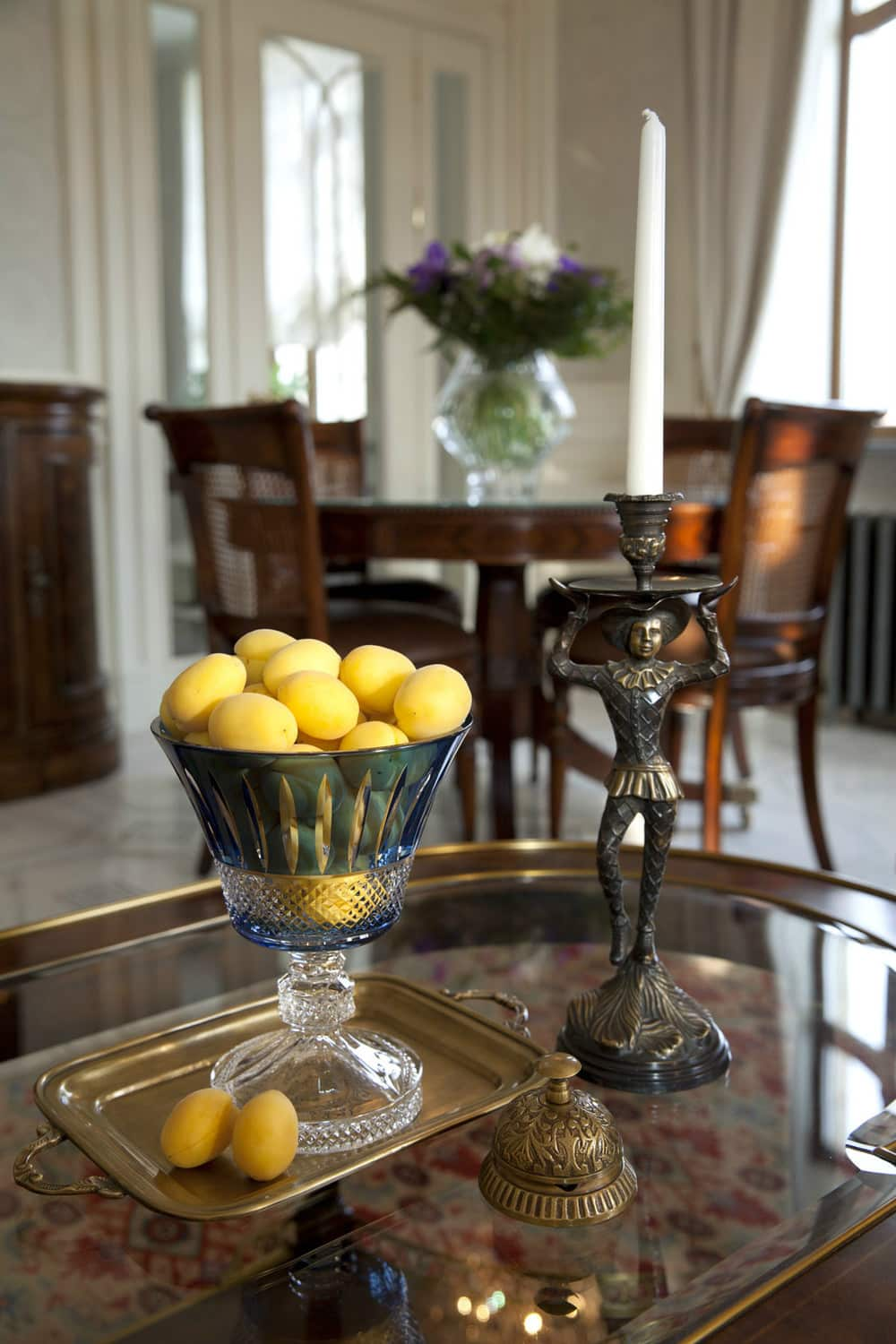 Unusual wooden retro furniture and the lemon cup at the table as decoration