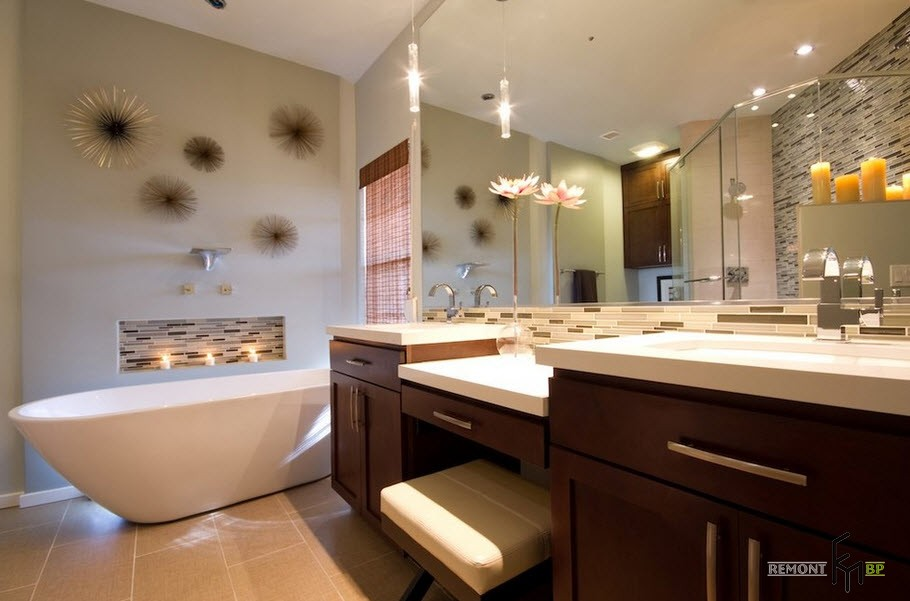 Candles and Candlesticks in the Modern Interior of Cozy Home. Bathroom with huge wooden vanity and boudoir