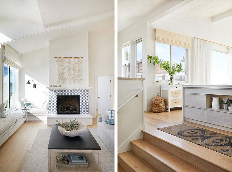 Sunny California Beach House Project in White. Living room and the level transition between zones