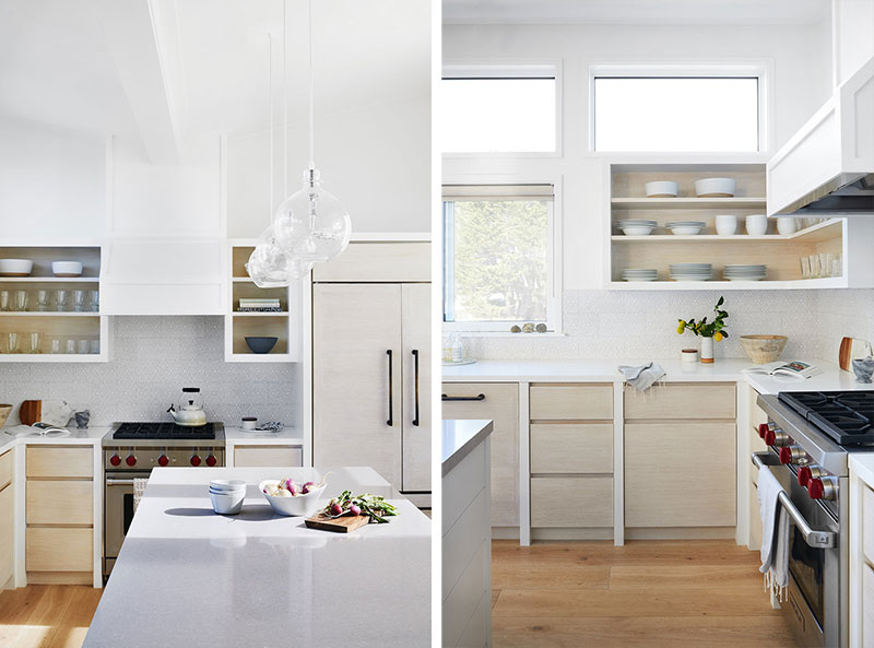 Sunny California Beach House Project in White. Collage of kitchen photos in casual American style