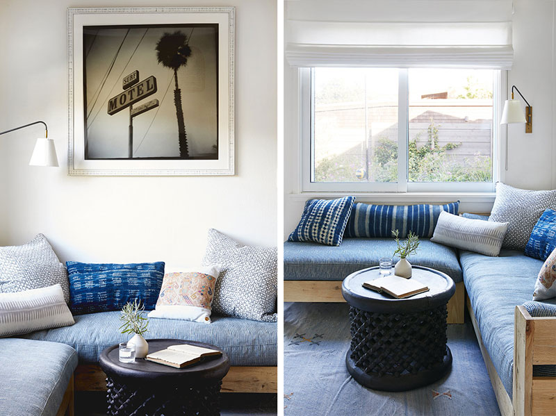 Sunny California Beach House Project in White. Blue upholstery of the coach zone resembles the Marine style