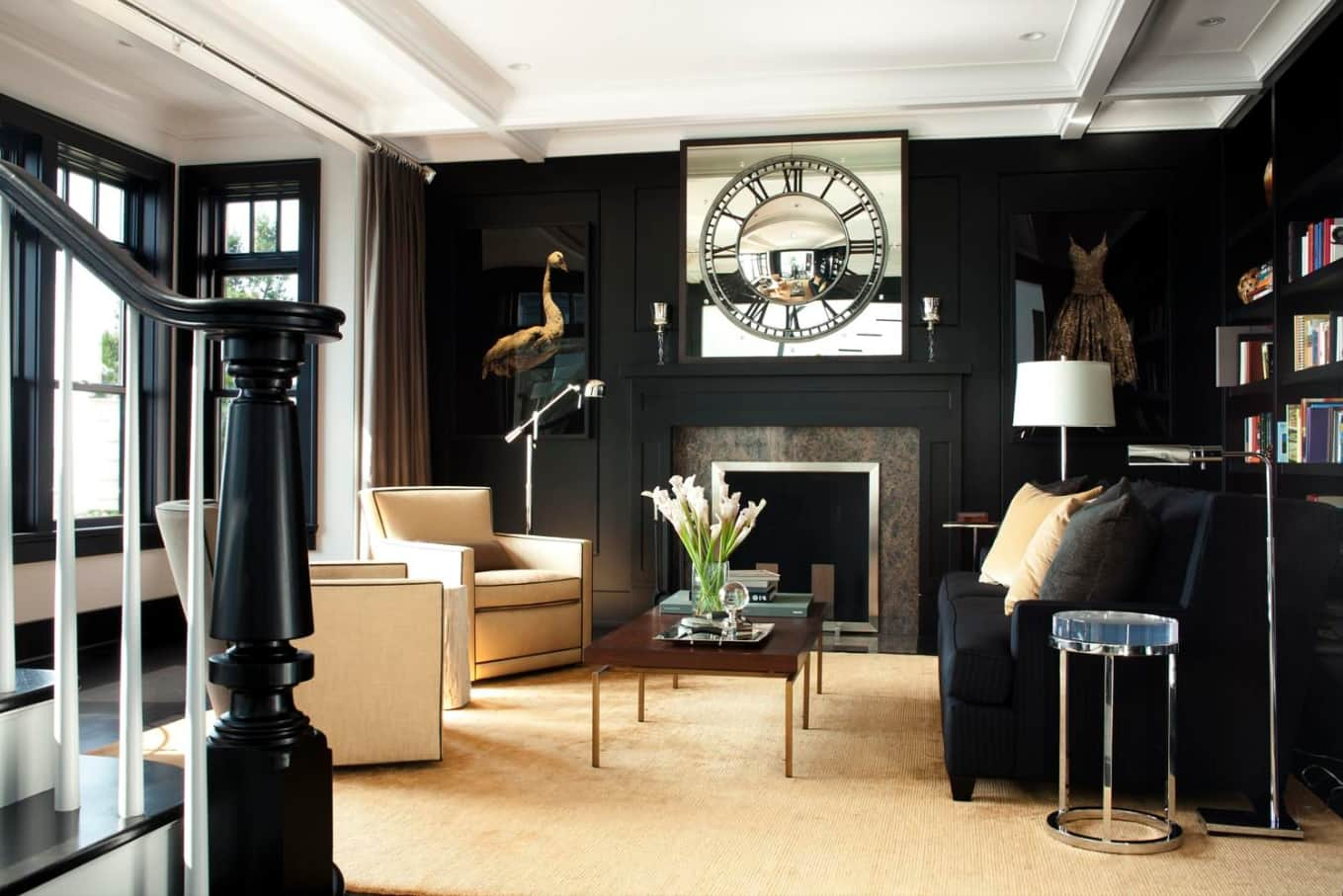 Black Interior Design Ideas and Tips to Make Your Interior. Light floor foe contrasting but inviting living room with artificial fireplace and large clock